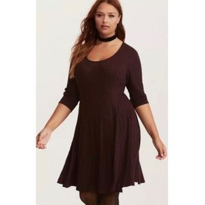 Torrid Ribbed Fit Flare Skater Thin Sweater Dress